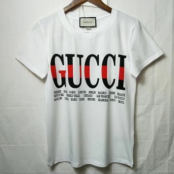 GUCCI Women Man Fashion Print Sport Shirt Top Tee
