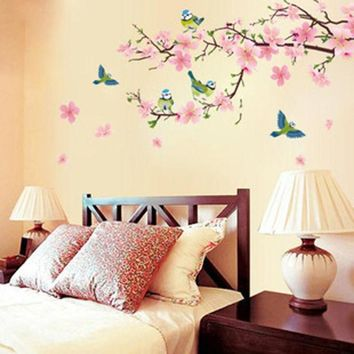 DCK9M2 Cherry blossom room bedroom home decorative vinyl stickers Art DIY transparent removable wall stickers posters wallpaper
