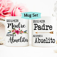 Madre Padre Pregnancy Reveal Mug, Spanish New Abuelos, Gift for Abuelos, Madre Mug, Abuelita Abuelito, New Grandparents Mug Set, Padre Mug