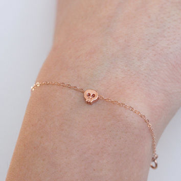 Tiny Rose Gold Skull Bracelet,  Skull Jewelry, Tiny Cute Rose Gold Filled Bracelet
