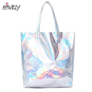 2017 New Women Handbag Laser Hologram Leather Shoulder Bag Lady Single Shopping Bags Large Capacity Casual Tote Bolsa Silver