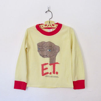 Vintage 1982 Kid's E.T. Pajama Top / Long Sleeved Yellow & Red Ringer Pullover Shirt / 80s ET the Extra Terrestrial
