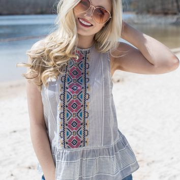 Foxford Sleeveless Embroidered Top, Grey