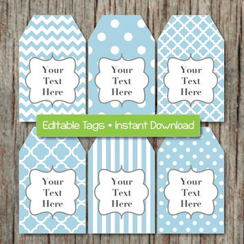 Thank You Tags Printable Gift Tags Editable Digital File JPG Powder Blue Grey INSTANT DOWNLOAD Digital Collage Baby Shower Birthday 007
