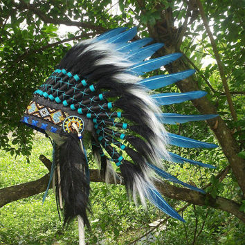 Kids Indian Headdress, Indian Warbonnet, Native American Headdress, Tee pee party, EdC, Pow wow, head circumference up to 55 cm/21.5 inches