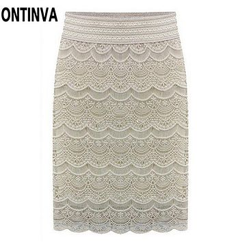 High Waist Bodycon Skirt 2017 Lace Womens Skirts Female Black Saia Curta Feminino Vintage Formal Ladies pencil skirt in wedding