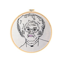 """Dr. Steve Brule Tim and Eric 6"""" Embroidery Hoop Wall Hanging Wall Art"""