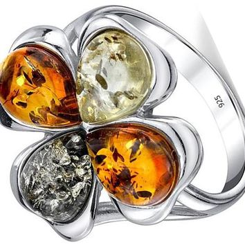 Sterling Silver Baltic Amber Multi Color Clover Leaf Ring, Honey Cognac and Olive Colors 5-9