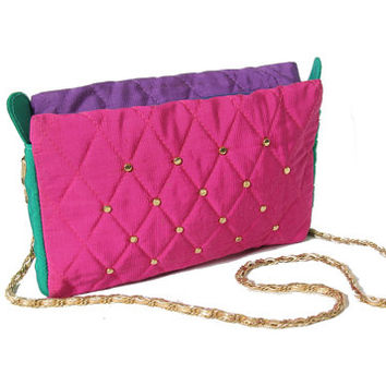 c788d1e29d5 Vintage 80s Purse - Colorblock - Studded Purse - Studded Bag - Quilted  Multi Colored Bag