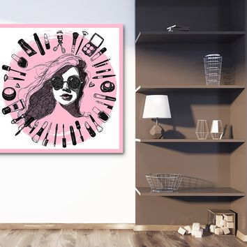 "Nail Salon ""Pink"" Canvas Framed Wall Art"