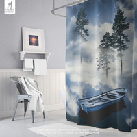 Surreal Nature Shower Curtain | Dreamy Shower Curtain | Boho Bath Curtain | Forests | Sailing | Bohemian Bathroom Decor | Home | Unique Gift