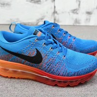 """""""Nike Air Max"""" Unisex Sport Casual Fashion Multicolor Flyknit Rainbow Air Cushion Running Shoes Couple Sneakers"""