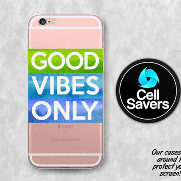 Good Vibes Only Clear iPhone 6s Case iPhone 6 Case iPhone 6 Plus iPhone 6s Plus iPhone 5c iPhone SE Clear Case Watercolor Quote Tumblr Cute