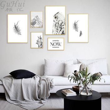 Nordic Black and White Feather Posters And Prints Cat Owl Mountain Art Canvas Painting Wall Pictures For Living Room Decoration