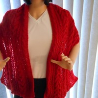Hand Knit Cables and Lace Ruby Red Shawl with Sequin