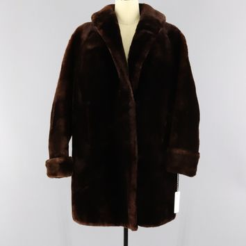 Vintage 1950s Mouton Fur Coat / Dark Brown Fur Sheared Lamb