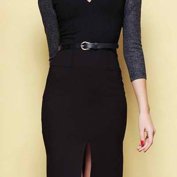 Black Front Slit Midi Dress