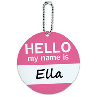 Ella Hello My Name Is Round ID Card Luggage Tag