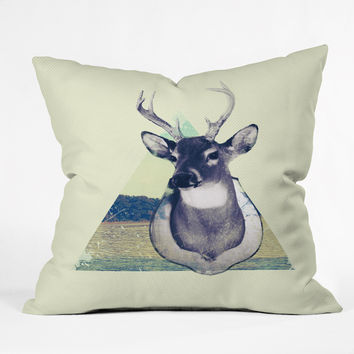 Allyson Johnson Deer And Nature Triangle Throw Pillow