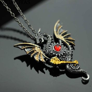 Vintage Dragon Pendants Necklaces Alloy Dragon Bead Chain Necklace for Women Red Crystal Punk Jewelry Charms Choker Necklaces