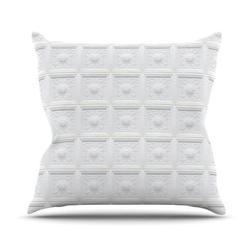 "KESS Original ""Palace Ceiling Tiles"" White Abstract Throw Pillow"