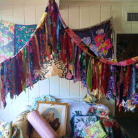 Bohemian Gypsy Bed Canopy Rose wedding Hippy vtg scarves Boho hippie Hippiewild Decor curtain photo backdrop Fringe floral flowers