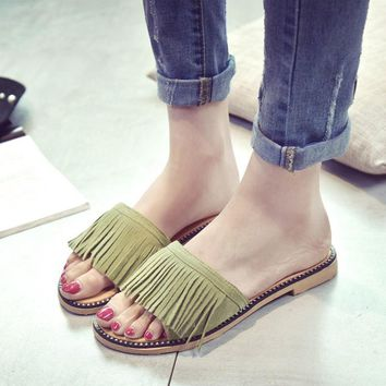 US SIZE Tassel Sandals Women Slippers Summer Fringe Sandal Flats Slides Women Shoes