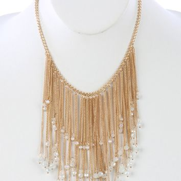 White Long Chain Fringe Bib Iridescent Glass Bead Charm Necklace