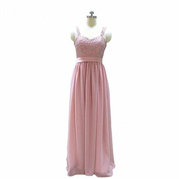 Beading Pearls Lace Appliques Bridesmaid Dresses Pink Blush Dress