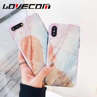 LOVECOM Blu-Ray Phone Case For iPhone 6 6S 7 8 Plus X Fashion Coral Marble Soft IMD Smooth Phone Back Cover Cases New Arrivals
