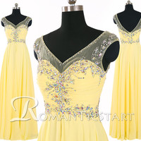 2015 yellow V-neck backless chiffon long prom dress with crystals,sleeveless floor-length evening dress, prom dress,80s formal dress,RS1083