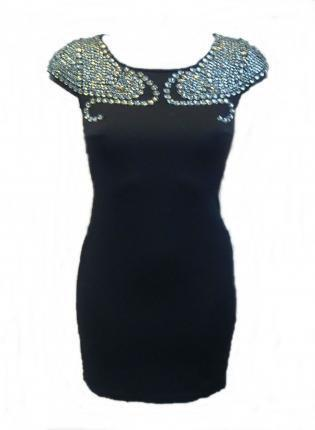 Black Fitted Dress with Cap Sleeves and Diamante Detail