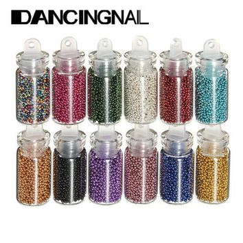 12pcs Colors Caviar Nails Art Bottle Set Manicures Tiny Circle Beads 3d Decoration Tools Free Shipping