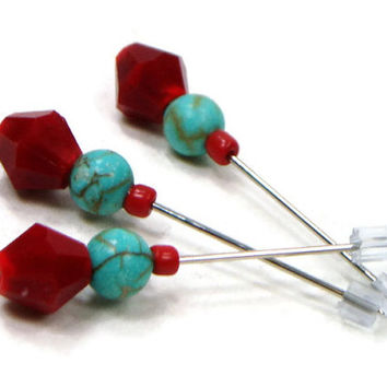 Counting Pins Marking Pins, Red, Turquoise, Cross Stitch Counting Needles Marking Needles Stitch Counter