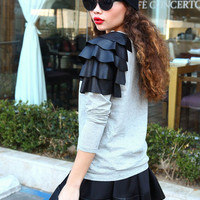 FAUX LEATHER RUFFLE SWEATER