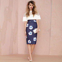 Navy Floral Print Pencil Skirt with Back Zipper and Slit