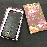 GUCCI tide brand fashion iphone X leather feel iphone7 double G pattern phone case Black
