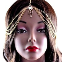 New Fashion Jewelry Ladies Gold Metal Head Chain w/Square Rhinestone IHC1005G | AihaZone Store