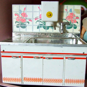Vintage 1:6 Scale 1970'sDoll House Kitchen Sink Cupboard Unit for Sindy, Barbie, Blythe, Silkstone, Fleur, Tammy