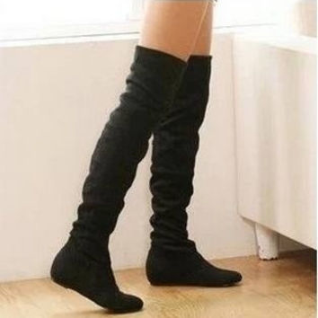 new fashion Women boots winter spring ladies fashion flat bottom boots shoes over the knee high leg suede long boots brand designer = 1830117636