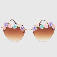 Heart Floral Sunglasses - Gold - One Size / Gold