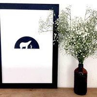 His Dark Materials print - the bear, the girl, the daemon