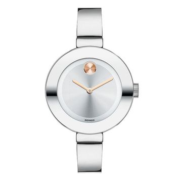 Movado Bold Mid-Sized Silver And Rose-Tone Bracelet Watch