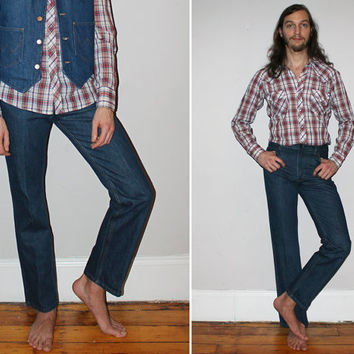 Vintage 70s WESTERN Jeans / BOOTLEG Fit / Medium Wash / Western, Cowboy Jeans / SHEPLERS Denim / Heavy, Raw / 29x31, 30x32