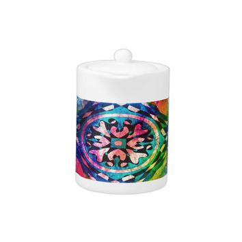Design in colorful background teapot