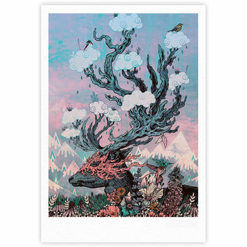 "Mat Miller ""Journeying Spirit (Deer)"" Lavender Fantasy Fine Art Gallery Print"