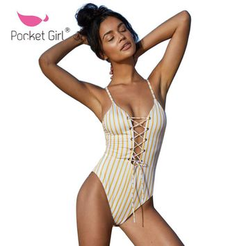 Pocket Girl One Piece Swimsuit 2018  Swimwear Women Bathing Suit Swim Vintage Summer Beach Wear Stripe Bandage Monokini Trikini