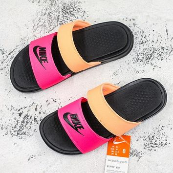 Nike Benassi Duo Ultra Black Orange Pink Slide Sandal Slipper - Best Deal Online