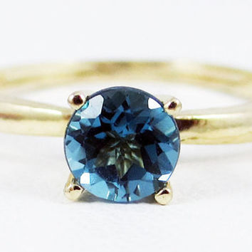 London Blue Topaz Solitaire Ring 14k Yellow Gold