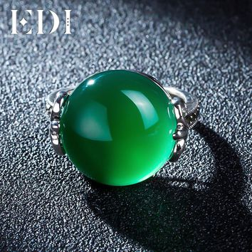 EDI Vintage Green Agate Garnet Handmade Inlaid In 925 Sterling Silver Wedding Rings Retro Females Royal Jewelry